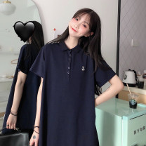 Dress Summer 2020 Black Navy grey M L XL Middle-skirt singleton  Short sleeve commute Polo collar Loose waist Cartoon animation Single breasted routine 18-24 years old Feimu Korean version Embroidered button 51% (inclusive) - 70% (inclusive) polyester fiber Pure e-commerce (online only)