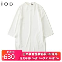 Dress Spring of 2018 2 4 6 8 Mid length dress singleton  three quarter sleeve commute Crew neck middle-waisted Solid color zipper other routine Others 30-34 years old Type H ICB Simplicity More than 95% polyester fiber Polyester 100%