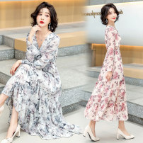 Dress Spring 2021 Grey, red M,L,XL,2XL longuette singleton  Long sleeves commute V-neck High waist Broken flowers Socket A-line skirt routine Others 25-29 years old Type A Korean version printing shq21-001 More than 95% Chiffon polyester fiber