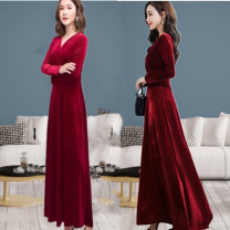 Dress Spring 2021 M,L,XL,2XL,3XL longuette singleton  Long sleeves commute V-neck High waist Solid color Socket Big swing routine Others 35-39 years old Type A Other / other Korean version 31% (inclusive) - 50% (inclusive) cotton