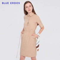 Dress Spring 2020 khaki 155/76A/XS 160/80A/S 165/84A/M 170/88A/L Mid length dress singleton  Short sleeve commute Doll Collar middle-waisted Solid color Socket routine Others 25-29 years old Type H blue erdos Ol style B205I3048 More than 95% cotton Cotton 100%