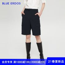 Casual pants Dark blue Spring 2021 Pant Straight pants Natural waist Versatile Thin money 25-29 years old blue erdos wool pocket wool Wool 100% Same model in shopping mall (sold online and offline)