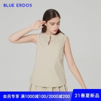T-shirt khaki 155/76A/XS 160/80A/S 165/84A/M 170/88A/L Spring 2021 Sleeveless Crew neck easy Regular other Sweet cotton 96% and above 25-29 years old other Solid color blue erdos B215H5142 Cotton 100% Same model in shopping mall (sold online and offline) college