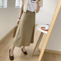 skirt Spring 2021 M, L Black, olive Mid length dress commute High waist A-line skirt Solid color Type A 25-29 years old 51% (inclusive) - 70% (inclusive) other DAILY MOOD polyester fiber zipper Korean version