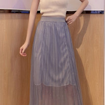 skirt Summer 2020 Average size Apricot grey blue Mid length dress commute Natural waist A-line skirt Solid color Type A 18-24 years old 1962-zb More than 95% Pachachi other Korean version Other 100% Pure e-commerce (online only)