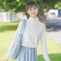 T-shirt White (regular) white (plush) S M L Winter 2020 Long sleeves Half high collar easy Regular routine commute other 96% and above 18-24 years old Korean version classic Solid color stitching Pachachi three thousand and forty-one Splicing thread Other 100% Exclusive payment of tmall