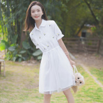 Dress Summer 2020 white S M L Middle-skirt singleton  Short sleeve commute Polo collar Elastic waist Broken flowers Single breasted Ruffle Skirt routine 18-24 years old Pachachi Korean version More than 95% other Other 100%