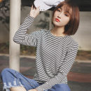 T-shirt Black stripe on white background S M L Autumn 2020 Long sleeves Crew neck Straight cylinder Regular routine commute polyester fiber 51% (inclusive) - 70% (inclusive) 18-24 years old Korean version classic Thin horizontal stripe Pachachi Pure e-commerce (online only)