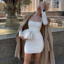 Dress Autumn 2020 White, black S,M,L Short skirt singleton  Sleeveless commute square neck High waist Solid color zipper One pace skirt routine camisole 18-24 years old Type X KLALIEN court zipper M20D10149 91% (inclusive) - 95% (inclusive) polyester fiber
