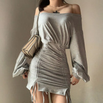 Dress Autumn 2020 Gray, black S,M,L Short skirt singleton  Long sleeves commute One word collar High waist Solid color Socket One pace skirt routine camisole 18-24 years old Type A KLALIEN backless G193AT42 More than 95% polyester fiber