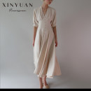 Dress Autumn 2020 Beige, nude, beige beige, Nude Bare powder 34,36,38,40,42,44,32 longuette singleton  elbow sleeve commute V-neck High waist Solid color Single breasted Big swing other Others 30-34 years old Type X XINYUAN RENAISSANCE Retro Pleats, buttons 2-DXNXG125 More than 95% Crepe de Chine