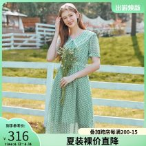 Dress Summer 2020 green S,M,L,XL longuette singleton  Short sleeve Sweet Crew neck High waist zipper A-line skirt 18-24 years old Type A thinking of an old acquaintance on seeing a familiar scene Gauze Countryside
