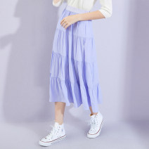 skirt Autumn 2020 S,M,L,XL violet longuette commute High waist A-line skirt Type A 25-29 years old thinking of an old acquaintance on seeing a familiar scene Splicing Korean version