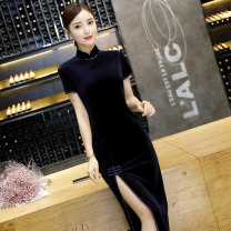 cheongsam Autumn of 2018 S M L XL XXL XXXL XXXXL Short sleeve long cheongsam Retro High slit Company annual meeting Straight front Solid color 18-25 years old Piping Langer EVA other Other 100% Pure e-commerce (online only)