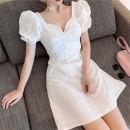 Women's large Summer 2021 White short black short S M L XL commute Short sleeve Solid color Korean version Medium length other wedscsds2 Qionlliea / love Other 100%