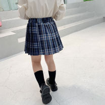 skirt 90cm,100cm,110cm,120cm,130cm,140cm Navy Blue Other / other female Other 100% spring and autumn skirt college lattice Pleats cotton LXL-22