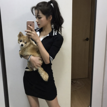 Dress Summer of 2019 black S,M,L Short skirt singleton  Short sleeve commute Polo collar Solid color routine 18-24 years old Type A Other / other Korean version