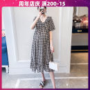 Dress Terry Kennedy The color of the picture is lined M. L, XL, XXL, large 3XL, large 4XL Korean version Short sleeve Medium length summer V-neck lattice Chiffon