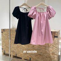 Dress Spring 2021 Black, pink S, M Mid length dress singleton  Short sleeve Sweet square neck Loose waist Solid color other Princess Dress puff sleeve Others 25-29 years old Type A Dream trend More than 95% other cotton Ruili