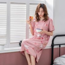 Nightdress Other / other 175(XXL),170(XL),165(L),160(M),180(XXXL) Sweet Short sleeve Leisure home longuette summer Solid color youth Crew neck cotton printing More than 95% pure cotton 200g and below