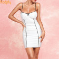 Dress Summer of 2019 white XS,S,M,L Short skirt singleton  Sleeveless street One word collar High waist Solid color zipper One pace skirt routine straps 25-29 years old Modphy / Murphy S002 91% (inclusive) - 95% (inclusive) brocade cotton Europe and America