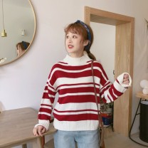 sweater Autumn of 2018 Average size Red, precious blue Long sleeves Socket singleton  Regular acrylic fibres 95% and above Half high collar Sweet routine stripe Regular wool 18-24 years old