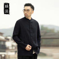 shirt other Chiva  XXL XXXL made in China, quality of craftsmanship s ml XL Navy Black Thin money other Long sleeves easy daily spring middle age Chinese style 2021 Solid color Linen Spring 2021 other hemp Button decoration Pure e-commerce (online only) 50% (inclusive) - 69% (inclusive)