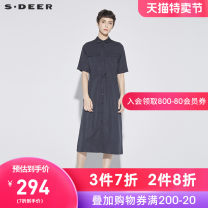Dress Summer of 2018 Carbon black blue / 94 S/160 M/165 L/170 XL/175 longuette singleton  Short sleeve commute other Loose waist Single breasted other routine 25-29 years old s.deer Ol style More than 95% other other Regenerated cellulose fiber 100%