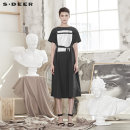 Dress Summer of 2019 Black / 91 S/160 M/165 L/170 XL/175 Mid length dress singleton  Short sleeve commute Crew neck middle-waisted Socket A-line skirt routine 25-29 years old Type A s.deer Ol style 51% (inclusive) - 70% (inclusive) other cotton Cotton 64% polyamide 36%
