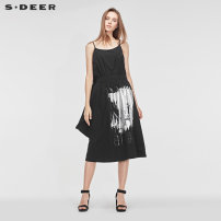 Dress Summer of 2019 Black / 91 S/160 M/165 L/170 XL/175 longuette singleton  Sleeveless commute other Elastic waist Socket other other 25-29 years old Type A s.deer Ol style More than 95% other cotton Cotton 100% Same model in shopping mall (sold online and offline)