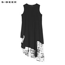 Dress Summer of 2019 Black / 91 S/160 M/165 L/170 XL/175 Mid length dress singleton  Sleeveless Crew neck middle-waisted Socket Irregular skirt other 25-29 years old Type A s.deer Splicing More than 95% other cotton Cotton 95% polyurethane elastic fiber (spandex) 5%