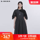 Dress Spring 2020 Black / 91 S/160 M/165 L/170 longuette singleton  Short sleeve Crew neck middle-waisted other A-line skirt routine 25-29 years old Type A s.deer 51% (inclusive) - 70% (inclusive) cotton Cotton 66% polyamide 34% Same model in shopping mall (sold online and offline)