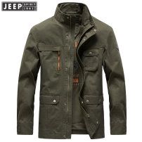 Jacket Jeep / Jeep Business gentleman Army green, khaki, blue M,L,XL,2XL,3XL thick easy Other leisure autumn WGQ047# Cotton 100% Long sleeves Wear out stand collar Business Casual middle age Medium length Zipper placket 2019 Rib hem No iron treatment Closing sleeve Solid color Digging bags with lids