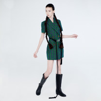 Dress Spring 2020 Green, yellow S,M,L singleton  Short sleeve commute lattice double-breasted 25-29 years old devil beauty Retro DB20SS-DS099GN DB20SS-DS099YE