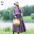 Dress Autumn of 2018 Nostalgic purple M L longuette singleton  Long sleeves commute V-neck Loose waist Solid color Socket Big swing routine Others 30-34 years old Type A Reminiscence Retro Pleated pocket button AQL1110 More than 95% other hemp Flax 100% Pure e-commerce (online only)