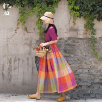 Dress Summer of 2019 Color grid S M L longuette singleton  Short sleeve commute V-neck Loose waist lattice Socket Big swing routine Others 30-34 years old Type A Reminiscence Retro Pleated pockets with lace up stitching More than 95% other hemp Flax 100% Pure e-commerce (online only)