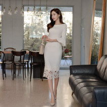 Dress Spring 2021 white S,M,L,XL Middle-skirt singleton  three quarter sleeve commute Crew neck middle-waisted Solid color zipper Pencil skirt pagoda sleeve Others 18-24 years old Type H Other / other Korean version Gouhua hollow