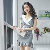 Dress Summer 2021 grey S,M,L,XL Mid length dress singleton  commute V-neck High waist Solid color zipper Others 18-24 years old Type X Vivarona Korean version