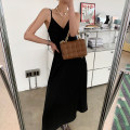 Dress Spring 2021 Black, black pre-sale S,M,L longuette singleton  Sleeveless commute V-neck High waist Solid color A-line skirt camisole 25-29 years old Type A JE1BQL01 More than 95% other polyester fiber