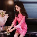 Dress Spring 2020 S,M,L Short skirt singleton  three quarter sleeve commute Crew neck High waist Decor zipper One pace skirt pagoda sleeve Others 25-29 years old Type H est  Korean version Lace More than 95% Lace polyester fiber
