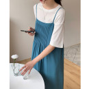 Dress Summer 2021 White, turquoise, cyan Average size Mid length dress singleton  Sleeveless commute square neck High waist Solid color Socket A-line skirt other Others 25-29 years old Type A Korean version F20210405 More than 95% other