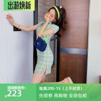 cheongsam Summer 2020 S,M,L Light green Short sleeve Short cheongsam Simplicity Low slit daily Oblique lapel 25-35 years old 10Q254W ALVIN STUDIO polyester fiber 96% and above