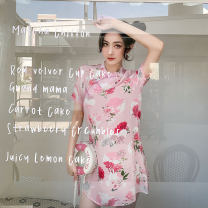 cheongsam Summer 2020 S,M,L Pink Short sleeve Short cheongsam lady No slits daily Oblique lapel Decor 25-35 years old Piping 10Q045W ALVIN STUDIO polyester fiber 96% and above