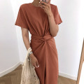 Dress Summer of 2018 White, green, coffee Average size Mid length dress singleton  commute Crew neck High waist Solid color 18-24 years old Other / other Korean version 6044453965ab7 81% (inclusive) - 90% (inclusive) brocade
