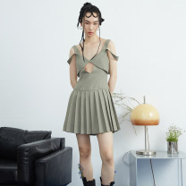 Dress Spring 2021 Morandi green S,M,L Short skirt Fake two pieces Sleeveless street V-neck middle-waisted Solid color Socket Pleated skirt camisole 18-24 years old Type A JNYLONSTUDIOS Hollowed out, pleated, stitched, beaded, button Q931 More than 95% other polyester fiber