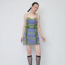 Dress Summer of 2019 Decor S,M,L Short skirt singleton  Sleeveless street High waist A-line skirt camisole 18-24 years old Type X JNYLONSTUDIOS Flounce, tuck, tie dye, mesh Q247 More than 95% polyester fiber Europe and America