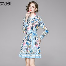 Dress Autumn 2020 Picture color M,L,XL,2XL Short skirt singleton  Long sleeves Polo collar middle-waisted Single breasted shirt sleeve 25-29 years old printing polyester fiber