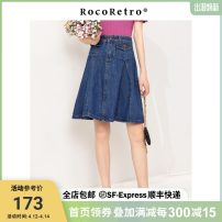 skirt Summer 2020 26,27,28,29 Dark blue denim Short skirt commute High waist A-line skirt Solid color Type A 25-29 years old RRW2037012 More than 95% Denim ROCO RETRO cotton Retro