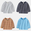 T-shirt Black gray strip, black-and-white strip, white black strip, royal blue strip, lake blue strip, orange yellow strip, white strip, sky blue strip, coffee strip Other / other 90cm,100cm,110cm,120cm,130cm male spring and autumn Long sleeves Crew neck leisure time No model nothing cotton stripe