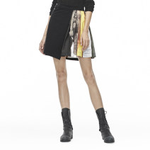 skirt Autumn of 2019 S/160,M/165,L/170,XL/175 Black / 91 Mid length dress commute High waist A-line skirt letter Type A 25-29 years old s.deer cotton Ol style